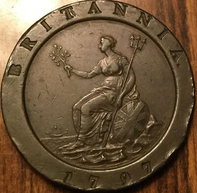 1797 UK GB GREAT BRITAIN CARTWHEEL TWOPENCE - What a great example !