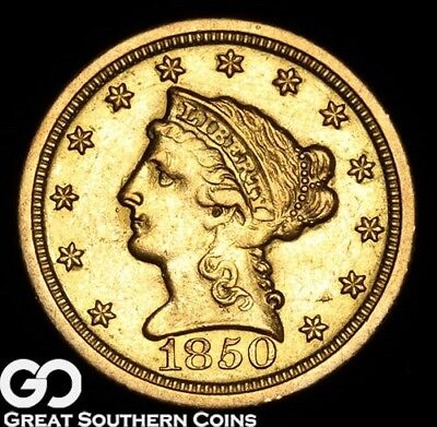 1850-O Quarter Eagle, $2.5 Gold Liberty, BU+ Better Date New Orleans Issue!
