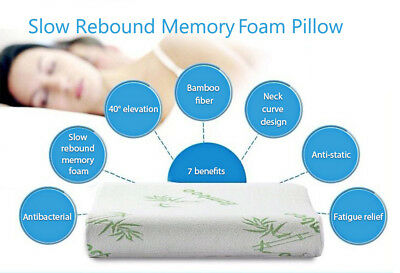 30x50 Embroidered Bamboo Fiber Rebound Health Care Memory Foam Neck Pillow New