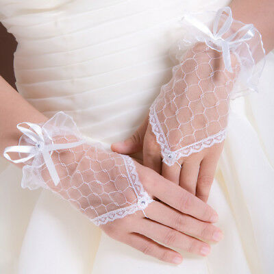 Woman Lady Cosplay Bridal Bride Wedding Bridemaid pearl lace embroidery Gloves