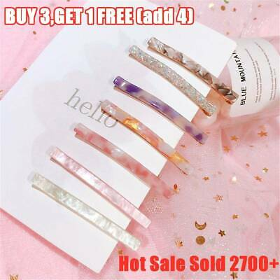 Women's Acetic Acid Hairpin Triangle Long Colorful Barrettes Stone Hair Clips