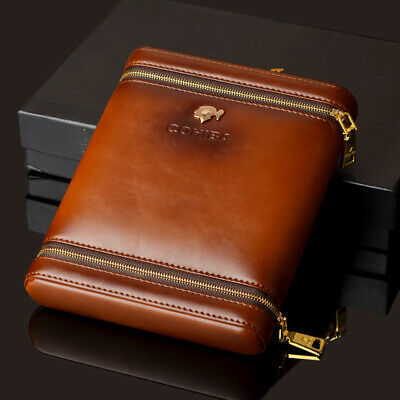 Cohiba Brown Leather Cedar Wood 6 Ct Cigar Humidor Case Holder With Humidifier