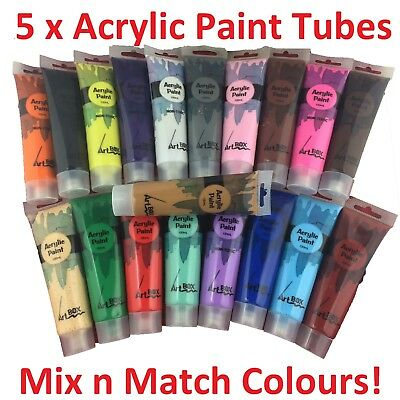 5 Pcs x 100ml Acrylic Paint Tubes Mix Any Colour Cheap Craft Student Artistic