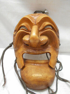 Vintage Mask Wooden Japanese Tribal Hand Made Hinged Mouth Display #197