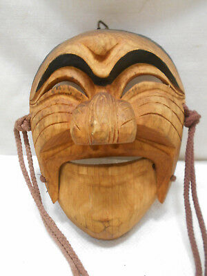 Vintage Mask Wooden Japanese Tribal Hand Made Hinged Mouth Display #201