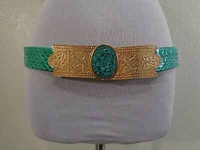 Vintage Gay Boyer New York Turquoise Snakeskin Print Leather Gold Buckle Belt
