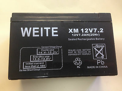 WEITE 12Volt 7.2AH Sealed Lead Acid Rechargeable  Battery  UPS, Alarm