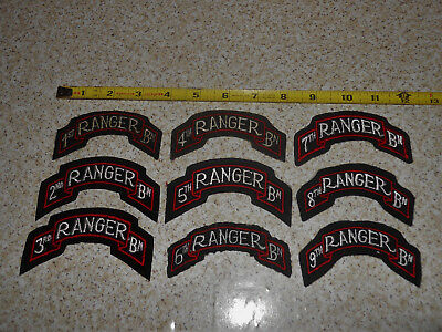 Lot of 9 Vintage 1st-9th Ranger Battalion BN Scroll US Military Patches