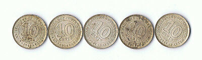 0.750 Silver 1941 10 Cent Commissioners Of Currency Malaya Lot B