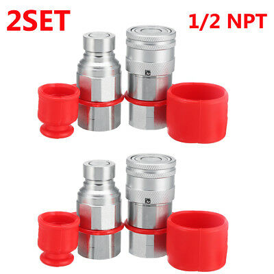 2 Set 1/2 NPT Skid Steer Flat Face Hydraulic Quick Connect Coupler Coupling