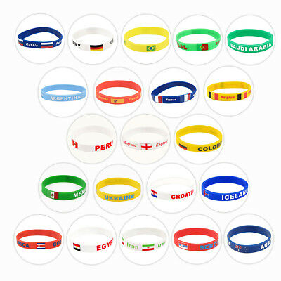 2018 World Cup National Flag Sport Silicone Bracelet Bangle Wristband Jewellery