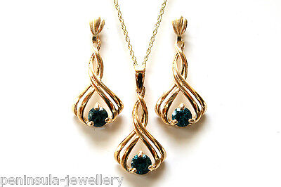 9ct Gold London Blue Topaz Pendant necklace Earring set Gift Boxed Made in UK