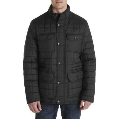 Tommy Hilfiger Mens Black Quilted Military Puffer Jacket Outerwear XL BHFO 1079