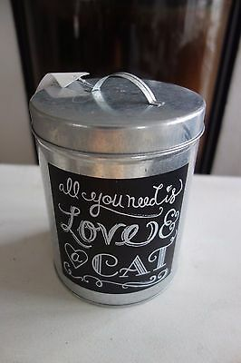 Leckerli Dose Katze All You Need Is Love And A Cat 16 x 13cm Retro Antiklook NEU