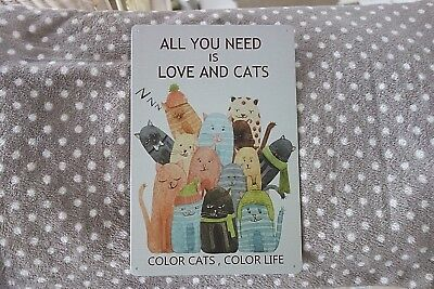 Shabby Blechschild All You Need Is Love And Cats Katze Retro Stil 30 x 20 cm NEU