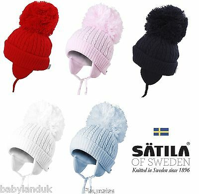 Satila Of Sweden Large Pom Pom Hat Style 'Twine' 5 Colours To Choose From