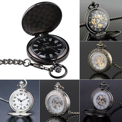 Mechanical Pocket Watch Full/Half-Hunter Retro Vintage Steampunk w/Hanging Chain