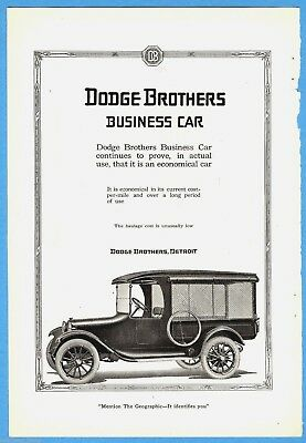 1919 DODGE BROTHERS advertisement, early pickup truck, business car
