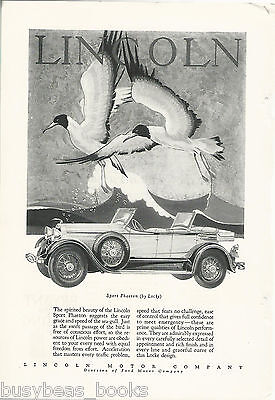 1928 LINCOLN advertisement, large LINCOLN Sport Phaeton, dual cowl
