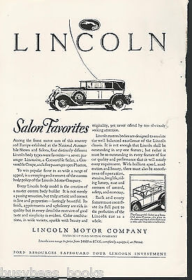 1928 LINCOLN advertisement, Convertible Sedan, Ford Motor Co Lincoln