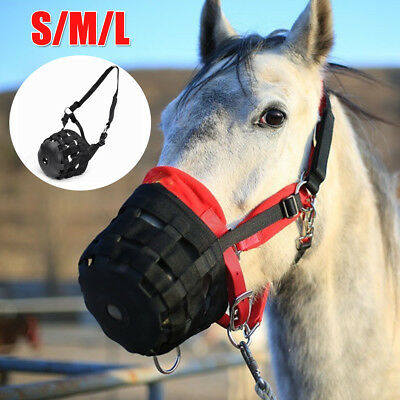 AU Horse Safety Grazing Muzzle Mouth Halter Prevent Founder Slows Eating Size