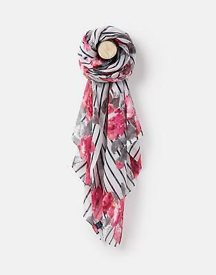 Joules 124978 Womens Longline Printed Polyester Scarf in FLORAL STRIPE