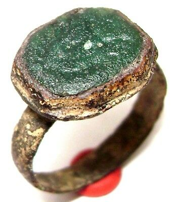 Ancient Medieval bronze ring seal with green stone. (GEM)