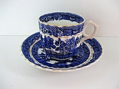 Antique Blue Willow Cup and Saucer