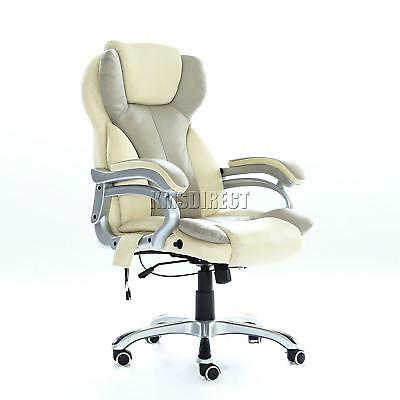 Office Massage Chair Heated Vibrating PC Gaming Chair Racing Car Seat Cream Soft