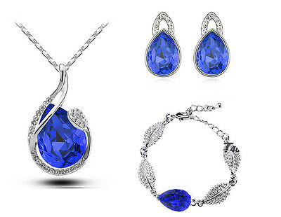 Royal Blue Wedding Leaf Pear Tear Drop Jewellery Earrings Necklace Bracelet S555