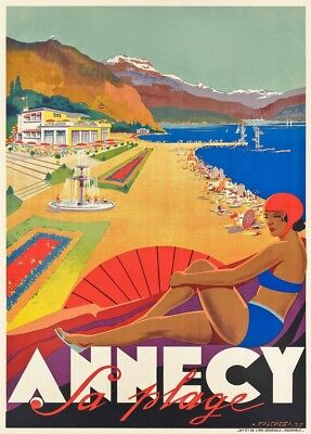 Annecy, Haute-Savoie, France, 1935, Vintage French Art Deco Travel Poster
