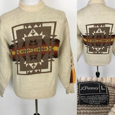Vtg 70s JCPenney KNIT SWEATER Southwestern Indian MENS Tagged Large Fits Medium
