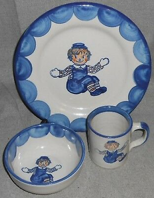 3 pc Louisville Stoneware RAGGEDY ANDY PATTERN  - CHILD'S SET Made in Kentucky