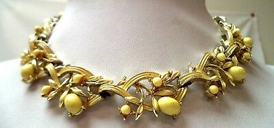 "Stunning Vintage Estate Signed Coro Yellow Flower Leaf 17"" Necklace!!! 9775I"