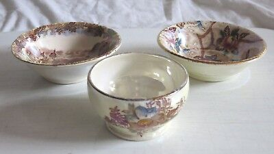 3 X Maling Bowls/Pin dishes Chintz and scenes + other. 2 excellent 1 very good.