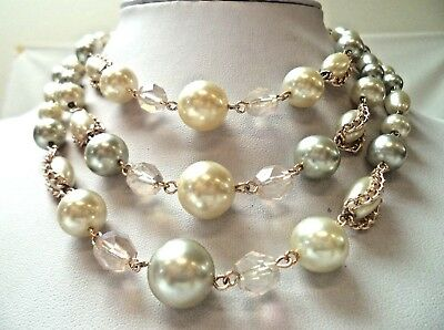 "Stunning Vintage Estate Signed Japan Faux Pearl Beaded 15"" Necklace!!!! 9776L"