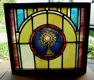 Antique Vtg Church Stained Glass Window Architectural Salvage Monstrance W98