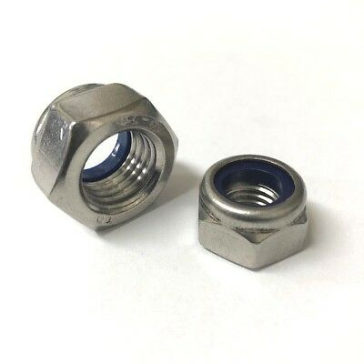 M8 Nyloc Locking Nut A4 Stainless Steel Marine Grade Hex Nuts