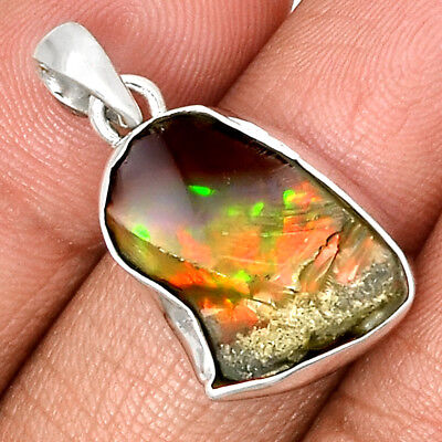 Ethiopian Opal Rough 925 Sterling Silver Pendant Jewelry PP186208
