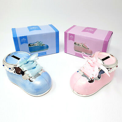 Silver Plated Ceramic Baby Shoe Money Box Babies Boot Christening Keep Sake Gift