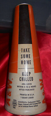Vintage Waxed A&w Root Beer Quart Cone Sealright Sealed Kone