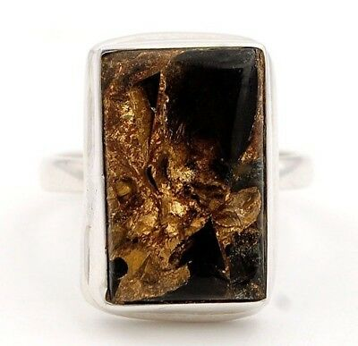 Golden Black Turquoise 925 Sterling Silver Ring Jewelry Sz 7.5  B4-1