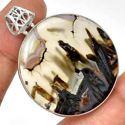 Tube Agate 925 Sterling Silver Pendant Jewelry PP189042