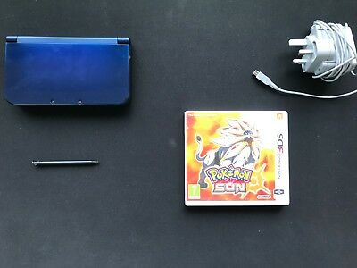 `New` Nintendo 3ds XL Metalic Blue with Pokemon Sun and Charger