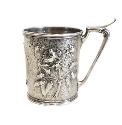 Exquisite Gorham Mfg Co Coin Silver Hand Chased Cup, c. 1860. Repousse Florals