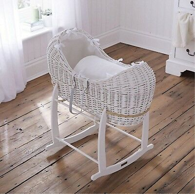 NEW Clair de Lune Waffle White Wicker Pod Moses Basket & Rocking Stand - White