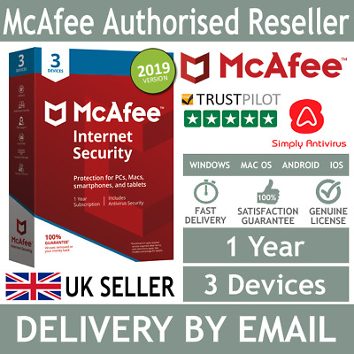 McAfee Internet Security 2019 3 Multi Devices 1 Year *5 Minute Delivery by Email