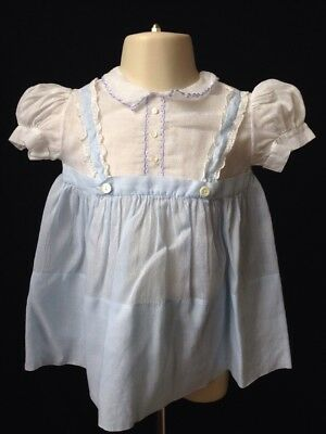 Vintage Baby Girls Dress Lace De Francaise Blue And White