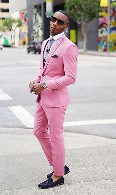Men Pink Suit Slim Fit Groom Tuxedos Dinner Prom Party Casual Suit Custom Made