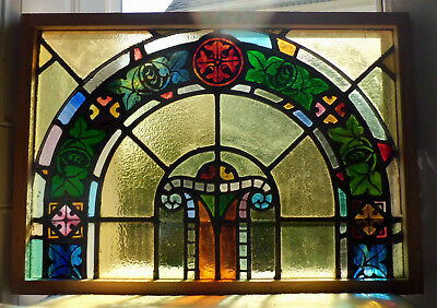 Antique Vtg Church Stained Glass Window Architectural Salvage Art Deco Arch W97